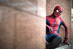 © Joel Goodman - 07973 332324. 30/07/2017 . Manchester , UK . Spiderman . Cosplayers, families and guests at Comic Con at the Manchester Central Convention Centre . Photo credit : Joel Goodman