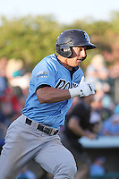 Wilmington Blue Rocks outfielder Lane Adams #6 at bat during the first game of a doubleheader against the Myrtle Beach Pelicans at Ticketreturn.com Field at Pelicans Ballpark on May 25, 2013 in Myrtle Beach, South Carolina. Wilmington defeated Myrtle Beach 8-3. (Robert Gurganus/Four Seam Images)