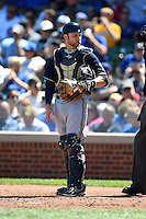 Milwaukee Brewers catcher Jonathan Lucroy (20) during a game against the Chicago Cubs on August 14, 2014 at Wrigley Field in Chicago, Illinois.  Milwaukee defeated Chicago 6-2.  (Mike Janes/Four Seam Images)