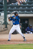 Missoula Osprey designated hitter Nick Dalesandro (8) at bat during a Pioneer League game against the Orem Owlz at Ogren Park Allegiance Field on August 19, 2018 in Missoula, Montana. The Missoula Osprey defeated the Orem Owlz by a score of 8-0. (Zachary Lucy/Four Seam Images)