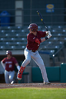 Brendan Hueth (25) of the Saint Joseph's Hawks at bat against the Western Carolina Catamounts at TicketReturn.com Field at Pelicans Ballpark on February 23, 2020 in Myrtle Beach, South Carolina. The Hawks defeated the Catamounts 9-2. (Brian Westerholt/Four Seam Images)