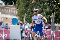defending champion Julian Alaphilippe (FRA/Deceuninck-QuickStep) is the very last rider to walk up the sign-on podium<br /> <br /> 14th Strade Bianche 2020<br /> Siena > Siena: 184km (ITALY)<br /> <br /> delayed 2020 (summer!) edition because of the Covid19 pandemic > 1st post-Covid19 World Tour race after all races worldwide were cancelled in march 2020 by the UCI