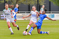 Amber Tysiak (3) of OHL , Jill Janssens (7) of OHL and Lakeesha Eikjken (7) of AA Gent pictured during a female soccer game between AA Gent Ladies and Oud Heverlee Leuven on the fourth matchday of play off 1 in the 2020 - 2021 season of Belgian Scooore Womens Super League , saturday 1 st of May 2021  in Oostakker , Belgium . PHOTO SPORTPIX.BE | SPP | STIJN AUDOOREN