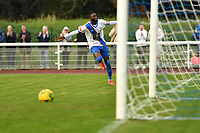 Muhammadu Faal of Enfield Town scores the equaliser and celebrates during Enfield Town vs Worthing, Pitching In Isthmian League Premier Division Football at the Queen Elizabeth II Stadium on 16th October 2021