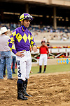 JULY 24, 2021: Umberto Rispoli awaits the results of a  stewards inquiry in a race at the Del Mar Fairgrounds in Del Mar, California on July 24, 2021. Evers/Eclipse Sportswire/CSM