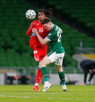 27th March 2021; Aviva Stadium, Dublin, Leinster, Ireland; 2022 World Cup Qualifier, Ireland versus Luxembourg; Gerson Rodrigues of Luxembourg and Dara O'Shea of Ireland challenge for the ball