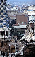 Scenic view of Gaudi's Parc Guell.<br /> Building in foreground is entrance to the park. Barcelona, Spain