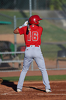AZL Angels Jose Guzman (16) at bat during an Arizona League game against the AZL Giants Black at the Giants Baseball Complex on June 21, 2019 in Scottsdale, Arizona. AZL Angels defeated AZL Giants Black 6-3. (Zachary Lucy/Four Seam Images)
