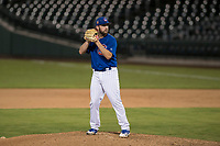 AZL Cubs 1 relief pitcher Corey Black (43) prepares to deliver a pitch in a rehab assignment during an Arizona League game against the AZL Reds at Sloan Park on July 13, 2018 in Mesa, Arizona. The AZL Cubs 1 defeated the AZL Reds 4-1. (Zachary Lucy/Four Seam Images)