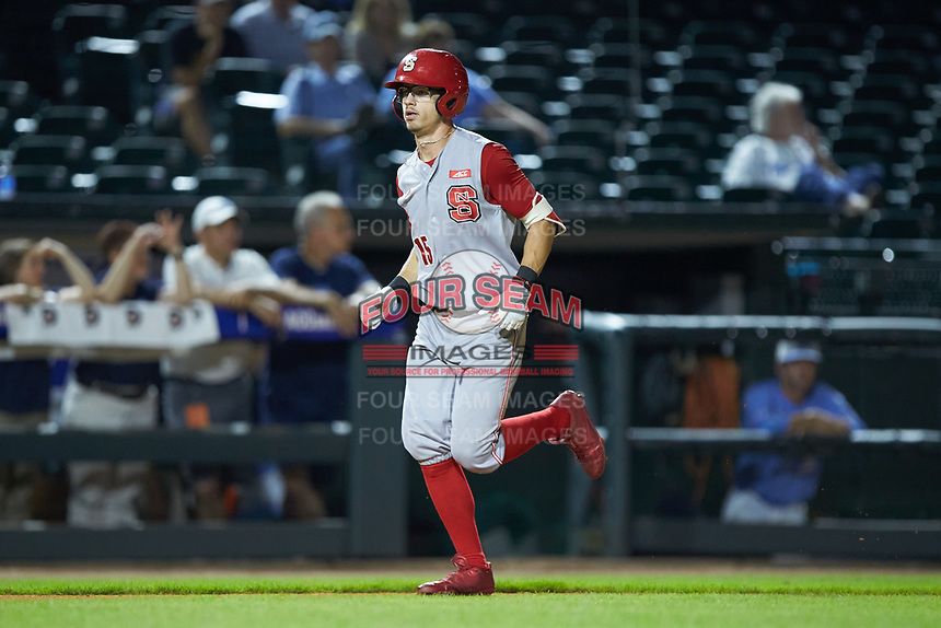 Josh McLain (15) of the North Carolina State Wolfpack jogs home after a run against the North Carolina Tar Heels in Game Twelve of the 2017 ACC Baseball Championship at Louisville Slugger Field on May 26, 2017 in Louisville, Kentucky. The Tar Heels defeated the Wolfpack 12-4. (Brian Westerholt/Four Seam Images)