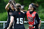 GER - Hannover, Germany, May 30: During the Women Lacrosse Playoffs 2015 match between DHC Hannover (black) and SC Frankfurt 1880 (red) on May 30, 2015 at Deutscher Hockey-Club Hannover e.V. in Hannover, Germany. Final score 23:3. (Photo by Dirk Markgraf / www.265-images.com) *** Local caption *** Magdalena Heiser #20 of SC 1880 Frankfurt, Jule Neubauer #15 of DHC Hannover