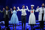 Nkeki Obi-Melekwe, Molly Gordon, Colton Ryan, Grace McLean, Andrew Kober during the opening night performance curtain call bows for the MCC Theater's 'Alice By Heart' at The Robert W. Wilson Theater Space on February 26, 2019 in New York City.