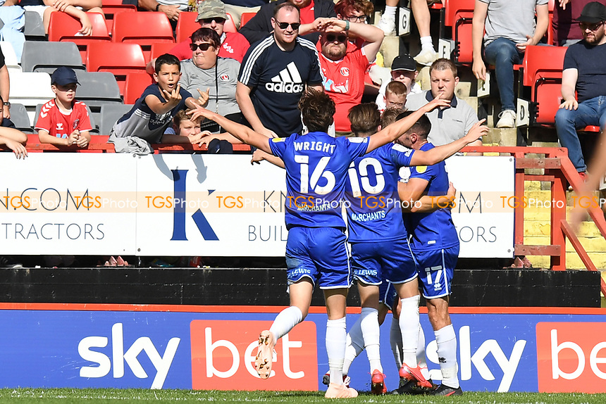 Taylor Perry of Cheltenham FC scores the second Goal and celebrates during Charlton Athletic vs Cheltenham Town, Sky Bet EFL League 1 Football at The Valley on 11th September 2021