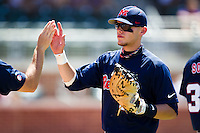 First baseman Matt Snyder #33 of the Ole Miss Rebels during the NCAA Regional baseball game against the Texas Christian University Horned Frogs on June 1, 2012 at Blue Bell Park in College Station, Texas. Ole Miss defeated TCU 6-2. (Andrew Woolley/Four Seam Images).