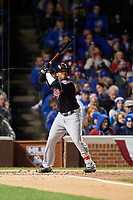 Cleveland Indians Jose Ramirez (11) bats in the second inning during Game 5 of the Major League Baseball World Series against the Chicago Cubs on October 30, 2016 at Wrigley Field in Chicago, Illinois.  (Mike Janes/Four Seam Images)