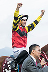 Jockey Hugh Bowman riding Lucky Bubbles pose for photo after winning the Chairman's Sprint Prize (1200m) on 07 May 2017, at the Sha Tin Racecourse  in Hong Kong, China. Photo by Chris Wong / Power Sport Images