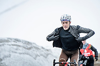 Larry Warbasse (USA/AG2R Citroën) coming over the Passo Giau, prepping for the descent<br /> <br /> due to the bad weather conditions the stage was shortened (on the raceday) to 153km and the Passo Giau became this years Cima Coppi (highest point of the Giro).<br /> <br /> 104th Giro d'Italia 2021 (2.UWT)<br /> Stage 16 from Sacile to Cortina d'Ampezzo (shortened from 212km to 153km)<br /> <br /> ©kramon