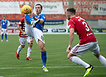 Hamilton Accies v St Johnstone…01.09.18…   New Douglas Park     SPFL<br />David McMillan is closed down by Scott McMann<br />Picture by Graeme Hart. <br />Copyright Perthshire Picture Agency<br />Tel: 01738 623350  Mobile: 07990 594431