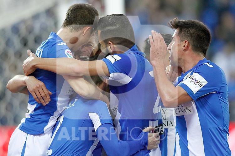 CD Leganes' players celebrate goal during La Liga match. February 25,2017. (ALTERPHOTOS/Acero)