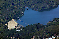 aerial photograph of the Crystal Springs Reservoir dam , San Mateo County