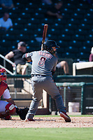 Salt River Rafters catcher Daulton Varsho (8), of the Arizona Diamondbacks organization, at bat during an Arizona Fall League game against the Surprise Saguaros on October 9, 2018 at Surprise Stadium in Surprise, Arizona. The Rafters defeated the Saguaros 10-8. (Zachary Lucy/Four Seam Images)