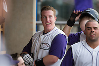 Zack Collins (30) of the Winston-Salem Dash is all smiles after hitting his first professional home run in the Carolina League game against the Potomac Nationals at BB&T Ballpark on July 15, 2016 in Winston-Salem, North Carolina.  (Brian Westerholt/Four Seam Images)
