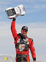 Nov. 6, 2010; Las Vegas, NV USA; LOORRS pro four unlimited driver Carl Renezeder celebrates after finishing second during round 13 at the Las Vegas Motor Speedway short course. Mandatory Credit: Mark J. Rebilas-