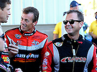 Sep 29, 2013; Madison, IL, USA; NHRA top fuel dragster driver Clay Millican (left) with Steve Torrence during the Midwest Nationals at Gateway Motorsports Park. Mandatory Credit: Mark J. Rebilas-