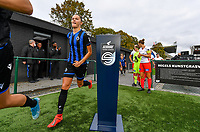 illustration picture showing Brugge's Charlotte Laridon passing the Scooore Super League ball holder with logo during a female soccer game between Club Brugge Dames YLA and Zulte Waregem Ladies on the third matchday of the 2020 - 2021 season of Belgian Scooore Womens Super League , saturday 3 October 2020  in Brugge , Belgium . PHOTO SPORTPIX.BE | SPP | DAVID CATRY