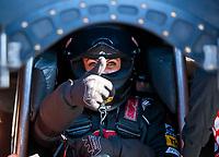 Feb 7, 2020; Pomona, CA, USA; NHRA funny car driver Alexis DeJoria reacts during qualifying for the Winternationals at Auto Club Raceway at Pomona. Mandatory Credit: Mark J. Rebilas-USA TODAY Sports
