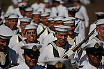 Chilean Navy Crew from the Esmeralda (BE-43), marching on Easter Island, Chile.