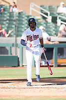 Salt River Rafters right fielder Jaylin Davis (30), of the Minnesota Twins organization, at bat during an Arizona Fall League game against the Surprise Saguaros at Salt River Fields at Talking Stick on November 5, 2018 in Scottsdale, Arizona. Salt River defeated Surprise 4-3 . (Zachary Lucy/Four Seam Images)