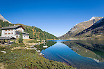 Austria, East-Tyrol, High Tauern National Park, Upper lake at Staller Sattel passroad connecting valley Defereggen with Valle d'Anterselva, Obersee hut to the left   Oesterreich, Osttirol, Nationalpark Hohe Tauern, Obersee am Staller Sattel, die Passstrasse verbindes das Defereggental mit dem Antholzertal in Suedtirol, links die Oberseehuette