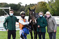 Winner of The Consign With Byerley Stud Handicap (Div 2)            Raha (orange) ridden by Dylan Hogan and trained by Julia Feilden in the Winners enclosure during Horse Racing at Salisbury Racecourse on 1st October 2020