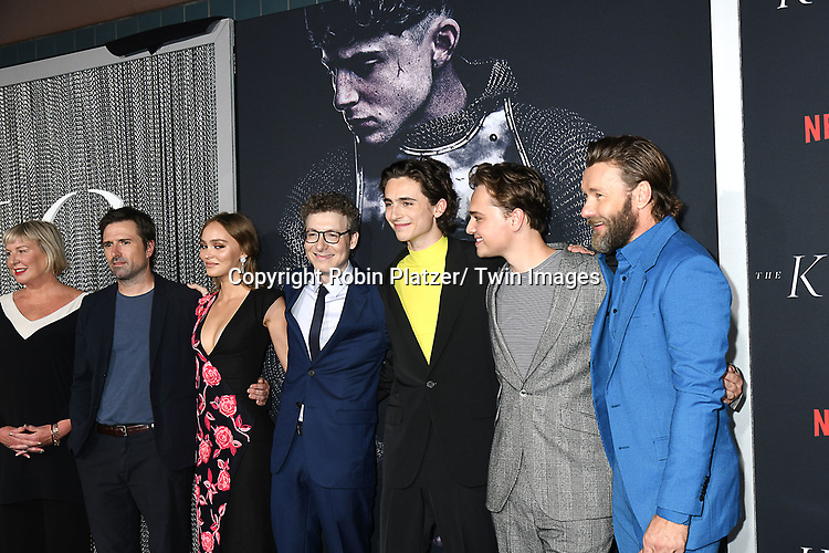 """cast and producers, Liz Watts, David Michod, Lily-Rose Depp, Nicholas Britell, Timothee Chalamet, Dean-Charles Chapman and Joel Edgerton attends the New York Premiere of """"The King"""" on October 1, 2019 at SVA Theater in New York, New York, USA. <br /> <br /> photo by Robin Platzer/Twin Images<br />  <br /> phone number 212-935-0770"""