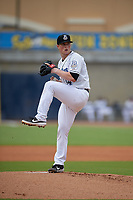 Biloxi Shuckers starting pitcher Drew Rasmussen (34) during a Southern League game against the Montgomery Biscuits on May 8, 2019 at MGM Park in Biloxi, Mississippi.  Biloxi defeated Montgomery 4-2.  (Mike Janes/Four Seam Images)