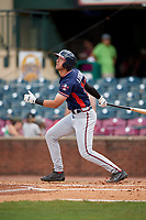 Rome Braves designated hitter Drew Lugbauer (15) follows through on a swing during a game against the Lexington Legends on May 23, 2018 at Whitaker Bank Ballpark in Lexington, Kentucky.  Rome defeated Lexington 4-1.  (Mike Janes/Four Seam Images)