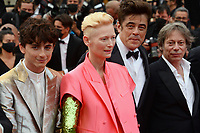 CANNES, FRANCE. July 12, 2021: Timothee Chalamet, Tilda Swinton, Benicio Del Toro & Mathieu Amalric at the gala premiere of Wes Anderson's The French Despatch at the 74th Festival de Cannes.<br /> Picture: Paul Smith / Featureflash