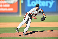 Aberdeen IronBirds starting pitcher Garrett Stallings (31) delivers a pitch during a game against the Asheville Tourists on June 17, 2021 at McCormick Field in Asheville, NC. (Tony Farlow/Four Seam Images)