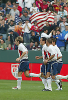 USA Men's team celebrates, Denmark vs. USA, 2004.