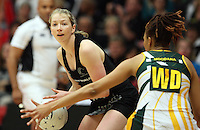 New Zealand's Camilla Lees looks to pass the ball against South Africa in the New World Quad series netball match, TECT Arena, Tauranga, New Zealand, Sunday, October 28, 2012. Credit:NINZ / Dianne Manson.