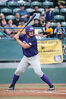 Luken Baker (19) of the TCU Horned Toads bats against the Long Beach State Dirtbags  at Blair Field on March 14, 2017 in Long Beach, California. Long Beach defeated TCU, 7-0. (Larry Goren/Four Seam Images)