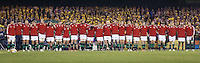 MELBOURNE, 29 JUNE 2013 - The British and Irish Lions line up prior to the start of the Second Test match between the Australian Wallabies and the British & Irish Lions at Etihad Stadium on 29 June 2013 in Melbourne, Australia. (Photo Sydney Low / sydlow.com)