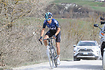 Diego Rosa (ITA) Team Sky out front alone on sector 8 Monte Santa Maria during Strade Bianche 2019 running 184km from Siena to Siena, held over the white gravel roads of Tuscany, Italy. 9th March 2019.<br /> Picture: Seamus Yore   Cyclefile<br /> <br /> <br /> All photos usage must carry mandatory copyright credit (© Cyclefile   Seamus Yore)