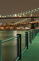 AVAILABLE FROM JEFF AS A FINE ART PRINT.<br /> <br /> AVAILABLE FROM CORBIS FOR COMMERCIAL AND EDITORIAL LICENSING.  Please go to www.corbis.com and search for image # 42-27340436<br /> <br /> Brooklyn Bridge, Manhattan Bridge and East River at Night, Viewed From Brooklyn Bridge Park, New York City, New York State, USA