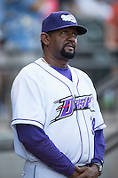 Winston-Salem Dash pitching coach Jose Bautista (38) during the game against the Potomac Nationals at BB&T Ballpark on May 13, 2016 in Winston-Salem, North Carolina.  The Dash defeated the Nationals 5-4 in 11 innings.  (Brian Westerholt/Four Seam Images)
