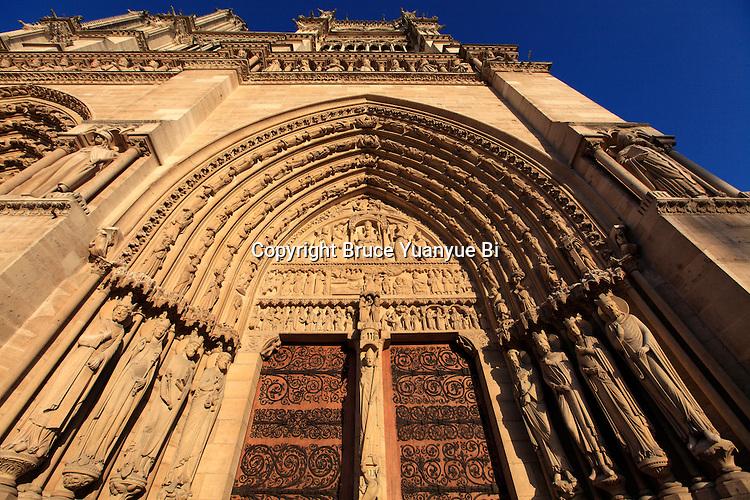 Portal of St-Anne of Notre Dame cathedral. city of Paris. Paris. France