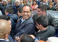 Argentina election front runner Daniel Scioli during a campaign rally in San Francisco Solano, a suburb of Buenos Aires, October 20 2015. Scioli is Buenos Aires province governor and leads the polls for October 25 national election as candidate for the Front for the Victory (FPV), the movement inside the peronism that backs president Cristina Fernandez de Kirchner