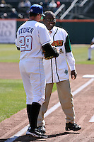 April 14, 2010:  Mayor Byron Brown with Tobi Stoner before the opening home game vs. Pawtucket at Coca-Cola Field in Buffalo, New York.  The Bisons are the Triple-A International League affiliate of the New York Mets.  Photo By Mike Janes/Four Seam Images