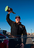 Nov 3, 2019; Las Vegas, NV, USA; NHRA pro mod driver Steve Jackson celebrates after winning the Dodge Nationals at The Strip at Las Vegas Motor Speedway. Mandatory Credit: Mark J. Rebilas-USA TODAY Sports